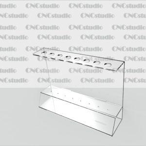 Р-10 Под ручки акрил 1,8 мм. Диаметр ручки 12 мм. Габариты 180х130х50 мм