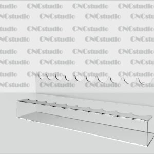 Р-7 Под ручки 1,8 мм акрил. Диаметр ручки 20 мм, габариты 240х82х54