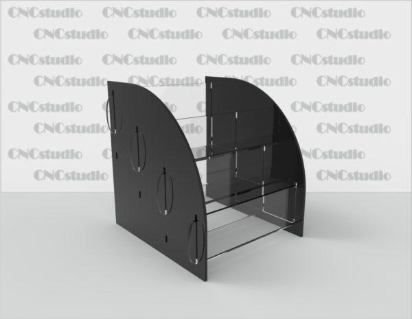 С-1Подставка под визитки 3 яруса, размер визитки 90х50. Акрил 1,8 мм и цветной 3 мм