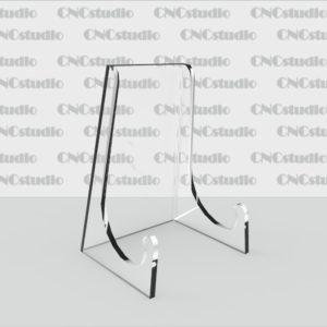 D-1 Подставка для  тарелки акрил 3 мм. Габариты 70х100х63мм