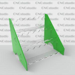 W-10 Подставка для косметики акрил 1,8мм+3мм цветной. Диаметр отверстия 20 мм. Габариты 230х190х180 мм