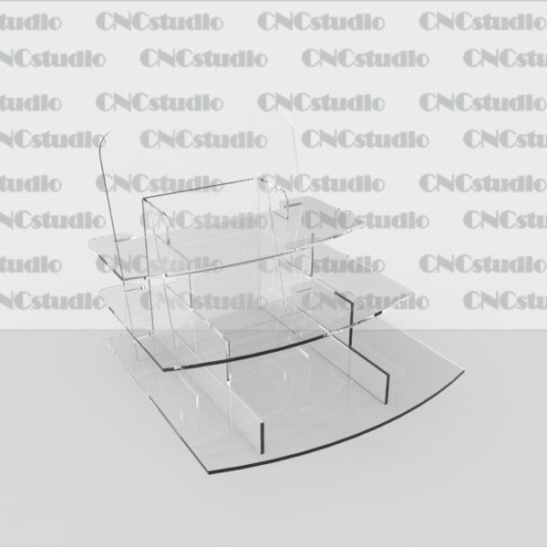 W-11 Подставка под косметику. Материал акрил 3 мм. Габариты полок 1,2 - 230х65мм, 3 230х55 мм.