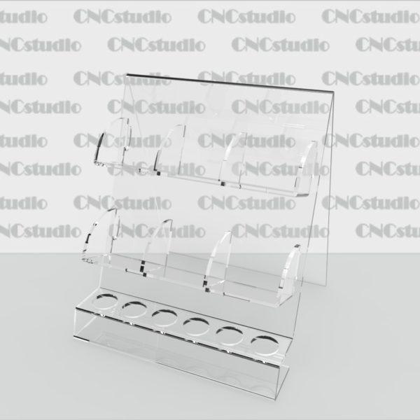 W-15 Подставка для косметики Д отв = 22 мм. Материал акрил 3 мм. Габариты модели 180х205х175 мм. Ячейки 52х76х40 мм.