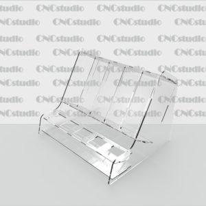 W-21 Подставка для косметики. Акрил 1,8 мм. Ячейки нижние 24х24 мм, верхние 36х100х48 мм. Габариты 194х140х156 мм.