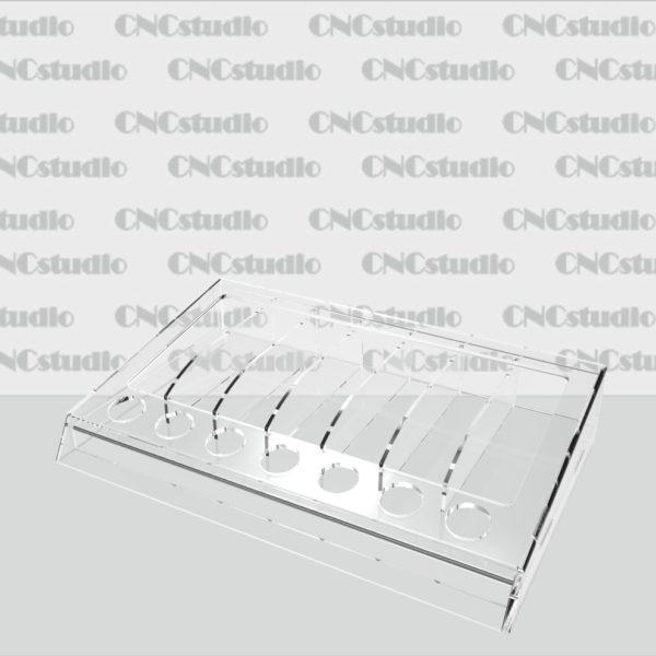W-22 Подставка для косметики. Материал акрил 3мм+1,8 мм. Отверстия 20мм, секции 30х98 мм. Габариты модели 251х50х157 мм.