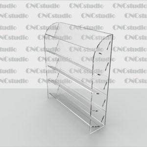 W-33 Стенд для косметики. Материал акрил 3 мм. Габариты полок 339х70х50 мм. Гбариты модели 345х400х90 мм.