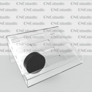 W-8 Подставка для туши акрил 1,8 мм. Ячейка 20х45мм. Габариты 180х124х87
