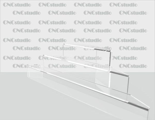 Z-1 Подставка под товар  акрил 4мм. Габариты 400х124х104. Глубина полок 30мм.