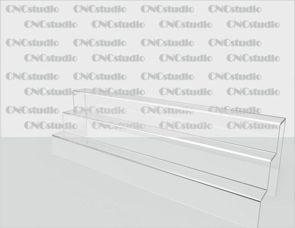 Z-7 Подставка под товар акрил 3 мм. Габариты 400х120х96 мм. Глубина полок 30 мм