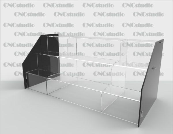 Z-8 Подставка под товар разборная, акрил цветной 3мм+прозрачный 3 мм. Габариты 476х210х210. Полки глубиной 60 мм