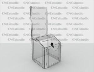Box-13   Ящик для сбора средств. Материал акрил 3 мм+карман ПЭТ 0,8 мм. Габариты 200х240х200 мм. Карман а4