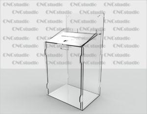 Box-14   Ящик для сбора средств навесной. Материал акрил 3 мм. Габариты 200х300х150 мм. Топ 200х70 мм