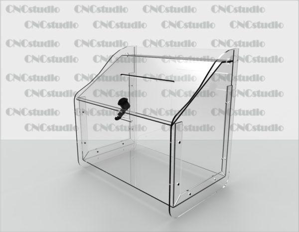 Box-15   Ящик для сбора средств. Материал акрил 3 мм. Габариты 306х200х300 мм.