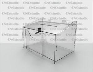 Box-16   Ящик для сбора средств на ушах. Материал акрил 1,8 мм. Габариты 300х200х200 мм. Карман 150х125х20 мм.