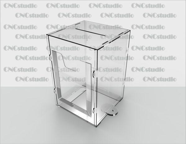 Box-17   Ящик для сбора средств для навеного замка. Материал акрил 3 мм+ПЭТ 0,8мм. Габариты 200х300х200 мм. Карман плоский на скотче А5 формата.