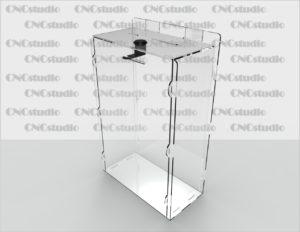 Box-19   Ящик для сбора средств на ушах. Материал акрил 1,8 мм. Габариты 300х300х100 мм.
