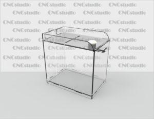 Box-2 Ящик для пожертвования акрил 3 мм. Габариты 100х150х150 мм.