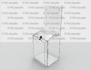 Box-21   Ящик для сбора средств на ушах. Материал акрил 3 мм+1,8 мм (Карман А4 )+ПЭТ 0,8 (Карман на скотче А4). Габариты 255х362х206 мм.