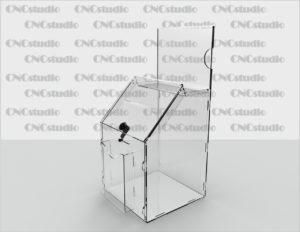 Box-22   Ящик для сбора средств. Материал акрил 1,8 мм+3 мм. Габариты 212х300х200 мм. Топ А5 горизонтальный. Карман обьемный А6