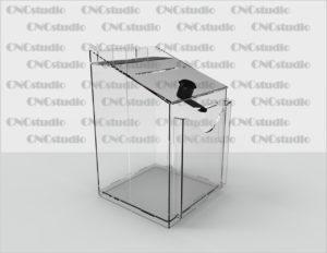 Box-25   Ящик для сбора средств. Материал акрил 1,8 мм. Габариты 120х200х120 мм. Карман 105х120 мм