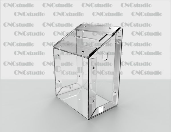 Box-26  Ящик для сбора средств. Материал акрил 1,8 мм. Габариты 150х200х100 мм.
