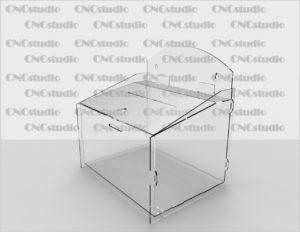 Box-29 Ящик для сбора средств навесной. Материал акрил 1,8 мм. Габариты 261х270х200 мм.