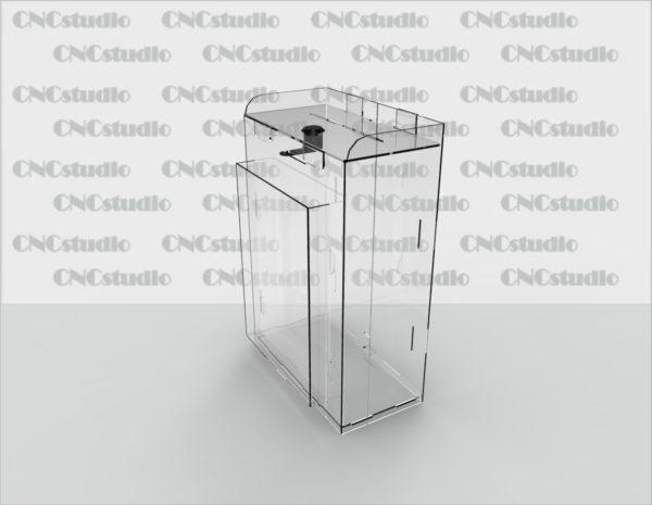Box-3 Ящик для пожертвования акрил 2 мм. Габариты 100х300х100 мм. Карман А5 вертикальный