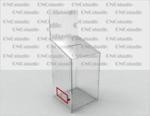 Box-30 Ящик для сбора средств. Материал акрил 3 мм+ 3мм цветной. Габариты 450х850х450 мм. Карман плоский 450х350  ПЭТ 0,8 мм