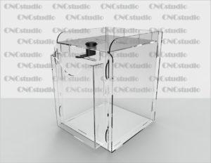 Box-31 Ящик для сбора средств. Материал акрил 1,8 мм. Габариты 150х200х150 мм. Карман А6