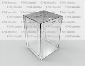 Box-36 Ящик для сбора средств. Материал акрил 1,8 мм. Габариты 200х300х200 мм.