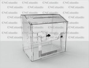 Box-38 Ящик для сбора средств. Материал акрил 1,8 мм + 3 мм.. Габариты 300х300х200 мм. Карман на скотче 200х150 мм