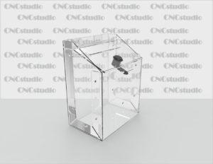 Box-41 Ящик для сбора средств. Материал акрил 1,8 мм. Габариты 150х200х100 мм.