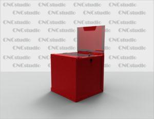 Box-42 Ящик для сбора средств. Материал акрил 1,8 мм + 3 мм цветной . Габариты 300х300х300 мм. Топ А4 плоский горизонтальный на скотче