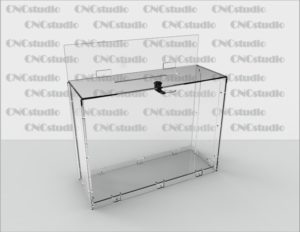 Box-48 Ящик для сбора средств. Материал акрил 3  мм. Габариты 426х420х156 мм. Топ 420х95 мм.