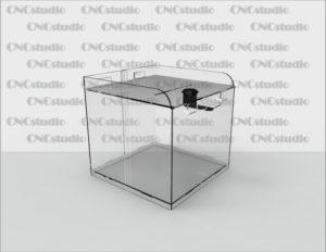Box-50 Ящик для сбора средств. Материал акрил 1,8 мм. Габариты 154х150х154 мм.