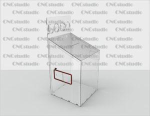 Box-8  Ящик для пожертвования акрил 4 мм. Габариты 600х1300х600. Топ 300х600