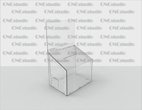 Box-9  Ящик для пожертвования акрил 3 мм. Габариты 430х420х300. Топ 330х430