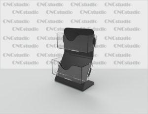 С-12 Визитница 2х ярусная. Материал акрил 1,8 мм+3 мм цветной. Габариты модели 105х148х70 мм