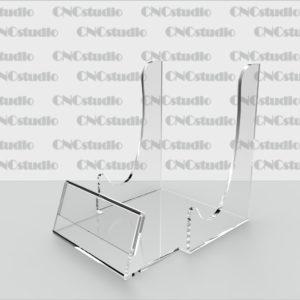 D-4 Подставка для тарелки с ценником (60х25мм) акрил 1,8 мм. Габариты 74х92х92