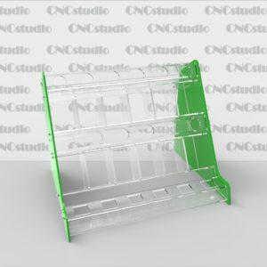 W-12 подставка для косметики акрил 3мм+3 мм цветной. Габариты модели 305х230х225 мм. Диаметр отверстия 22, квадратных 24х24мм, секции 46х62х60 мм.
