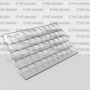 W-3 Подставка для косметики акрил 1,8 мм. Диаметр отверстия 22 мм. Габариты 360х112х205