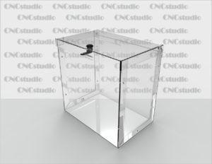 Box-12  Ящик для сбора средств. Материал акрил 1,8 мм. Габариты 300х300х200 мм.