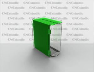 Box-23   Ящик для сбора средств с навесным замком. Материал акрил 1,8 мм+3мм цветной.. Габариты 150х200х100 мм.
