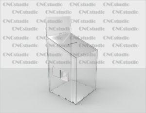 Box-24   Ящик для сбора средств. Материал акрил 1,8 мм(Карман плоский на скотче 600х300)+ 4 мм. Габариты 800х1000х600 мм.
